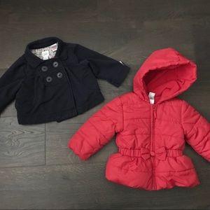 Girls Puffer Coat + Collared Jacket - 12-18m